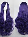 Парики из искусственных волос Кудрявый / Свободные волны / Естественные волны Фиолетовый Ассиметричная стрижка Темно-синий Искусственные волосы 25 дюймовый Жен. Природные волосы Фиолетовый Парик