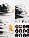 Conception 15pcs ongles noir de l'art peinture dessin brosse plume bois mis en acrylique poignée brosse