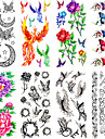 12 pcs Временные тату Временные татуировки Тату с животными / Тату с цветами Водонепроницаемый / Non Toxic Искусство тела / С рисунком / Waterproof