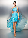Sheath / Column One Shoulder Asymmetrical Chiffon Cocktail Party / Homecoming Dress with Beading / Ruched by TS Couture® / High Low