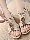 Pantofi pentru femei - Imitație de Piele - Toc Plat - Decupați / T-Curea - Sandale - Outdoor / Rochie / Casual - Negru / Alb