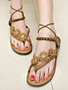 Pantofi pentru femei - Imitație de Piele - Toc Plat - Confortabili / Cu Inel pe Deget / Pantofi pe Gleznă - Sandale - Casual - Maro / Alb