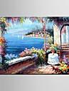 HANDMÅLAD Blommig/Botanisk / Abstrakta landskapEuropeisk Stil / Parfymerad En panel Kanvas Hang målad oljemålning For Hem-dekoration