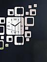 pătrate argint de lux de perete de arta autocolante oglindă ceas DIY pentru decorațiuni interioare (două opțiuni culori)