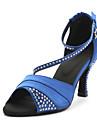 Žene Cipele za latino plesove / Standardni Saten Sandale Kristal Potpetica po mjeri Moguće personalizirati Plesne cipele Plava / / Koža