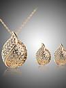 Pentru femei Seturi de bijuterii Cercei Stud Coliere cu Pandativ Cristal Cristal Ștras Argilă Placat Cu Aur Roz Inimă de Mireasă