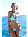Dame Poliester Push-up Fără Întăritură Cu Susținere,Bikini Floral Mulată Imprimeu