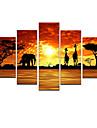 Pictat manual Animal Orice formă,Modern Cinci Panouri Canava Hang-pictate pictură în ulei For Pagina de decorare