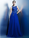 A-Line Scoop Neck Floor Length Chiffon Beaded Lace Formal Evening Dress with Appliques by TS Couture®