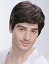 Perruque Synthetique Droit Avec Frange Partie laterale Marron Homme Femme Sans bonnet Perruque Naturelle Court Cheveux Synthetiques
