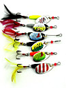 7 pcs Spinner Koeder Angelkoeder Buzzbait & Spinnerbait Koeder Loeffel Frosch Metal sinkend Spinnfischen