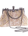 Women\'s Bags Polyester Evening Bag Imitation Pearl / Crystal / Rhinestone Champagne / Black / Gold