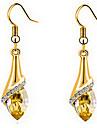 Cercei Picătură Cristal Zirconiu Cubic Placat Auriu Austria cristal Auriu Culoare ecran Bijuterii Pentru 2pcs