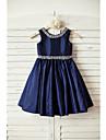 a-line rochie lungime floare fata rochie - taffeta gât cu mânecă fără mâneci cu beading de thstylee