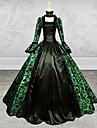 Βικτωριανής Εποχής / Medieval Costume Pentru femei Rochii / Costume petrecere / Mascaradă Verde Vintage Cosplay Dantelă / Satin Manșon Lung Poet Lung / Frunză