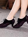 Femme Chaussures Modernes Daim Talon Lacet Talon Cubain Non Personnalisables Chaussures de danse Jaune / Fuchsia / Interieur
