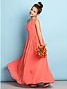 A-linje Enskuldret Ankellang Chiffon Junior brudepikekjole med Sidedrapering av LAN TING BRIDE® / Naturlig / Mini-meg