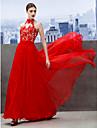 Linia -A Gât Înalt Lungime Podea Șifon Bal Seară Formală Rochie cu Aplică de TS Couture®