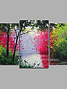 Oil Painting Hand Painted - Landscape Modern Canvas Three Panels