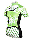 ILPALADINO Women\'s Short Sleeve Cycling Jersey - Green Floral / Botanical Bike Jersey Top Breathable Quick Dry Ultraviolet Resistant Sports Polyester 100% Polyester Terylene Mountain Bike MTB Road