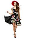 A-라인 / 핏 & 플레어 V 넥 무릎 길이 쉬폰 칵테일 파티 / 댄스 파티 드레스 와 패턴 / 프린트 으로 TS Couture®