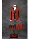 Brown Solid Colored Tailored Fit Cotton Blend Suit - Peak Single Breasted One-button
