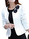 Women\'s Casual/Daily Work Sophisticated Spring Fall Blazer,Solid Round Neck Long Sleeve Short