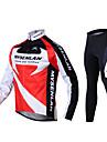 Mysenlan Homme Manches Longues Maillot et Cuissard Long de Cyclisme - Noir/Rouge Vélo Collants Maillot Pantalon / Surpantalon Ensemble de