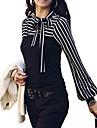 Pentru femei Stand - Mărime Plus Size Bluză De Bază - Dungi Sleeve Lantern, Funde / Stripe fină