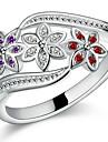 Bărbați Pentru femei Inele Cuplu Inele Afirmatoare manşetă Ring Iubire de Mireasă Plastic Zirconiu Flower Shape Bijuterii Pentru Nuntă