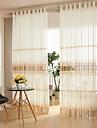Deux Panneaux Rustique / Moderne / Designer Rayure / Courbe Comme image Salle de sejour Polyester Sheer Rideaux Shades