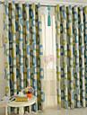 Stångficka Hyls-topp Hällor topp Dubbel veckad Penn veck Två paneler Fönster Behandling Moderna , Tryck Tecknat Sovrum Polyester Material
