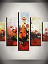Pictat manual Abstract / Peisaj / Natură moartă / Floral/BotanicModern Cinci Panouri Canava Hang-pictate pictură în ulei For Pagina de