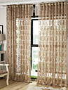 Deux Panneaux Europeen Rayure / Floral / Botanique / Geometrique / Courbe Cafe Salle de sejour Polyester Sheer Rideaux Shades