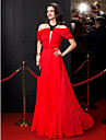 A-Line Jewel Neck Floor Length Chiffon Prom / Formal Evening Dress with Beading Draping by TS Couture®