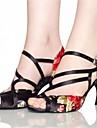 בגדי ריקוד נשים נעליים לטיניות / נעלי ג\'אז / נעלי סלסה סטן סנדלים / עקבים פרח סאטן / אבזם עקב מותאם מותאם אישית נעלי ריקוד שחור / כחול / EU39