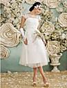 A-라인 국자 목 종아리 길이 레이스 오버 튤 Made-To-Measure 웨딩 드레스 와 아플리케 으로 LAN TING BRIDE® / 리틀 화이트 드레스