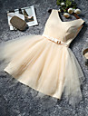 A-Line V Neck Knee Length Tulle Bridesmaid Dress with Bow(s) by