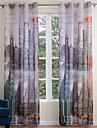 Hyls-topp Två paneler Fönster Behandling Moderna , Tryck Vardagsrum Polyester Material Skira Gardiner Shades Hem-dekoration