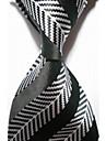 Cravată(Negru / Alb,Poliester)Dungi