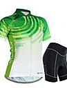 Nuckily Dame Kortærmet Cykeltrøje og shorts - Grøn Gradient Cykel Shorts Trøje Tøjsæt Vandtæt Åndbart 3D Måtte Refleksbånd Svedreducerende Sport Polyester Spandex Gradient Bjerg Cykling Vej Cykling