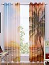 Margine cu inele de trecere Două Panouri Tratamentul fereastră Modern , Imprimeu Natural & Peisaj Sufragerie Poliester Material Sheer