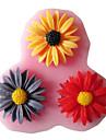 trei gauri de floarea-soarelui din silicon instrumente artizanale mucegai matrite fondantă de zahăr rășină de flori de mucegai pentru prăjituri