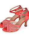 Damă Salsa Satin Sandale Călcâi Adidași Performanță Piatră Semiprețioasă Cataramă Imprimeu Animal Tubular Toc Flared Negru Roșu Violet