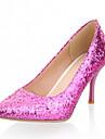Femme Fille Chaussures Similicuir Printemps Ete Talon Aiguille Paillette pour Bureau et carriere Habille Argent Violet Dore