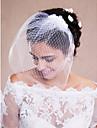 Voal de Nuntă Un nivel Voaluri de Obraz Voaluri pentru Păr Scurt Accesorii de Păr cu Voal Margine crudă Tul Alb