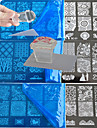 10pcs dentelle estampage plaque polie ongle art transfert modele avec carre transparent timbre bc1-10