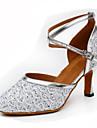 Pentru femei Pantofi Moderni Luciu / PU Călcâi Cataramă / Despicare Personalizabili Pantofi de dans Auriu / Argintiu / Albastru