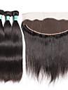 Cheveux Indiens Droit Trame cheveux avec fermeture Tissages de cheveux humains Doux Noir Naturel