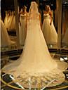 Un nivel Margine cu Aplicație de Dantelă Voal de Nuntă Voaluri de Catedrală Cu Broderie Dantelă Tulle